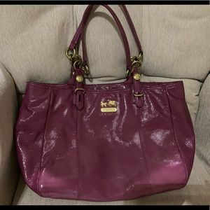Patent leather coach bag wine colored